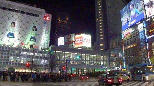 夜の渋谷駅前